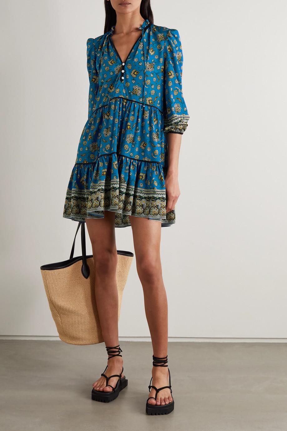 Veronica Beard Hawken tiered paisley-print stretch-silk mini dress