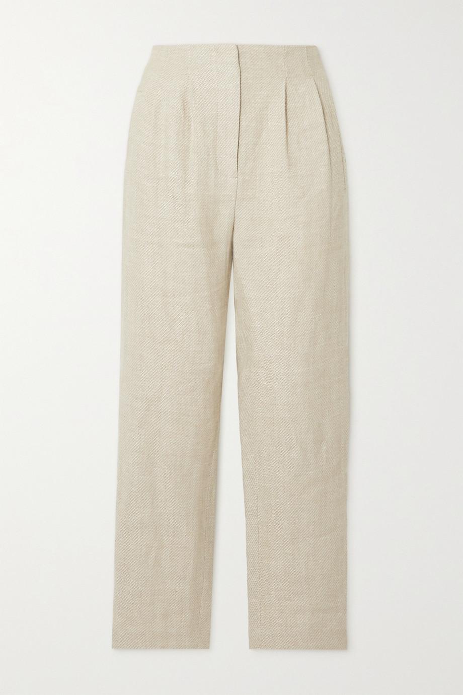Veronica Beard Zeenat pleated linen-twill slim-leg pants