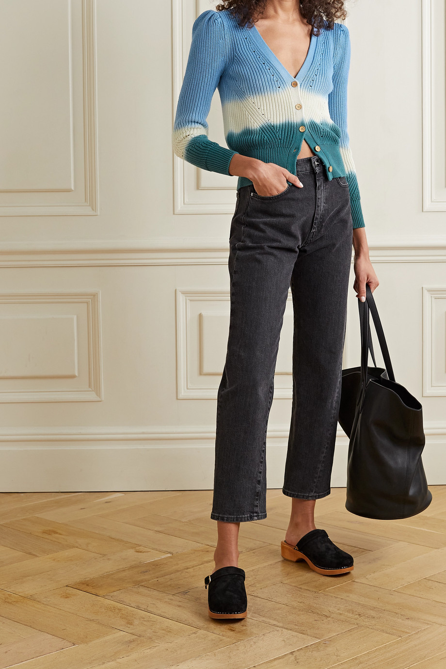Veronica Beard Cardigan en coton côtelé tie & dye Parula