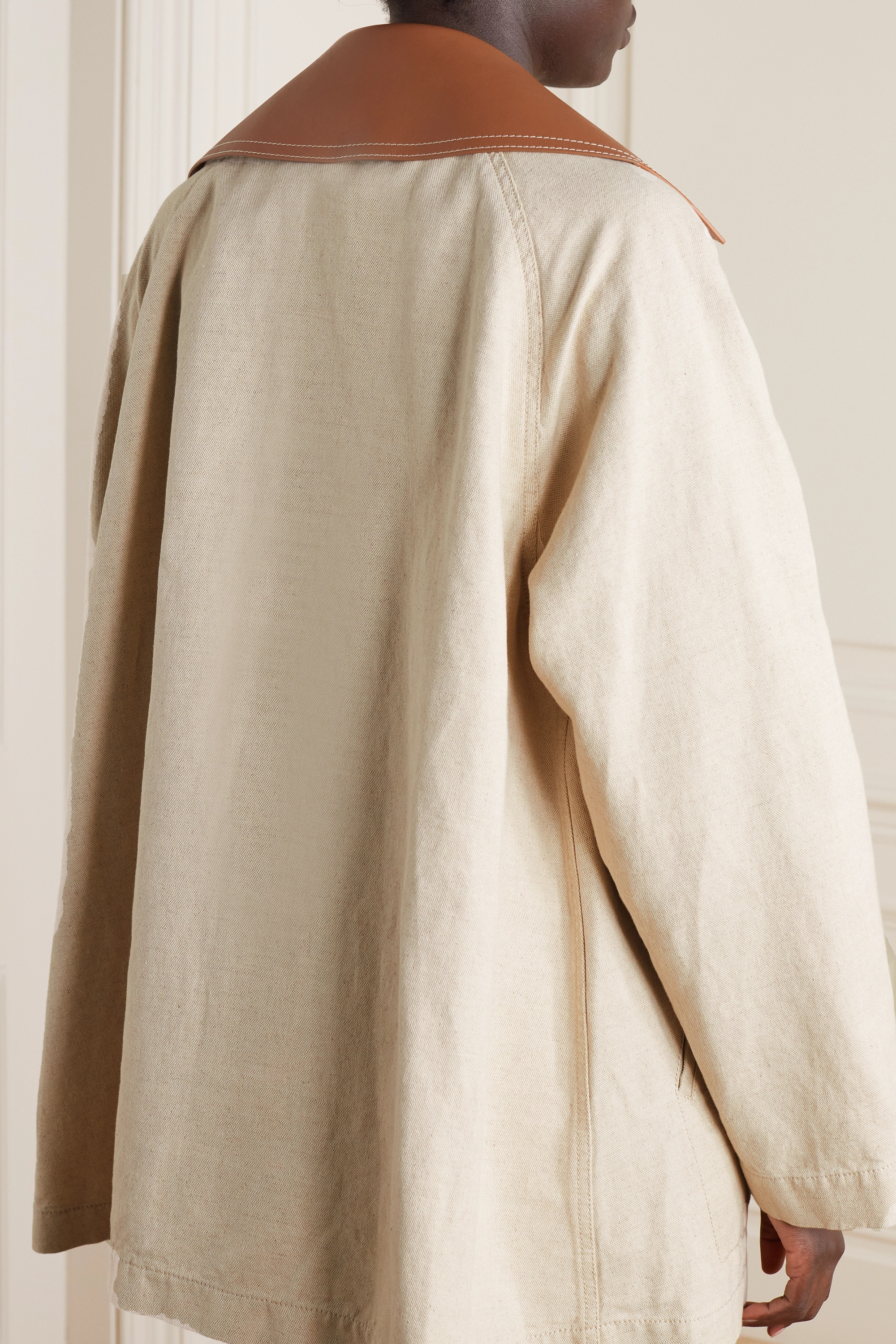 Loewe Double-breasted leather-trimmed cotton and linen-blend coat