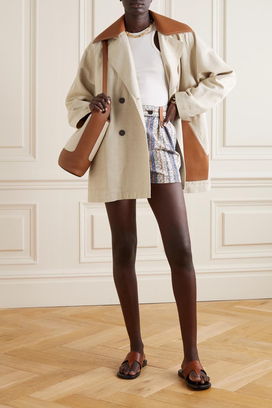 Loewe Manteau à double boutonnage en coton et lin mélangés à finitions en cuir