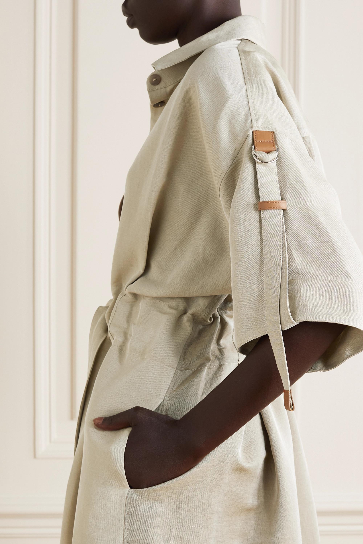 Loewe Robe-chemise midi en lin mélangé à finitions en cuir et à ceinture