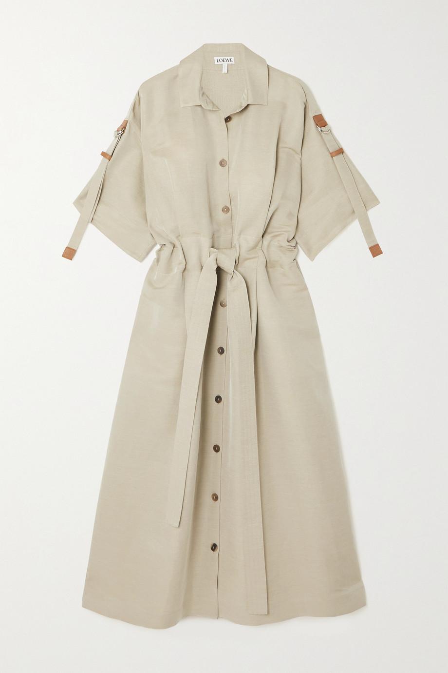 Loewe Belted leather-trimmed linen-blend midi shirt dress