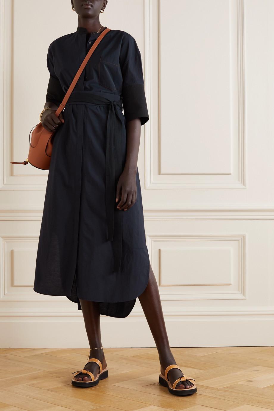 Loewe Robe-chemise midi en popeline de coton mélangé à ceinture