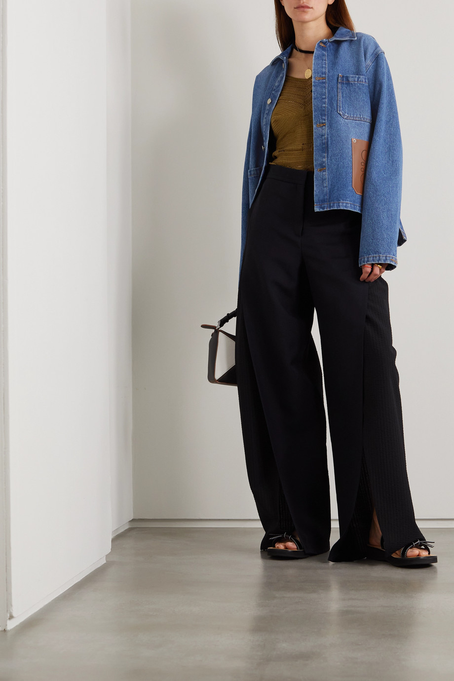 Loewe Veste en jean à finitions en cuir