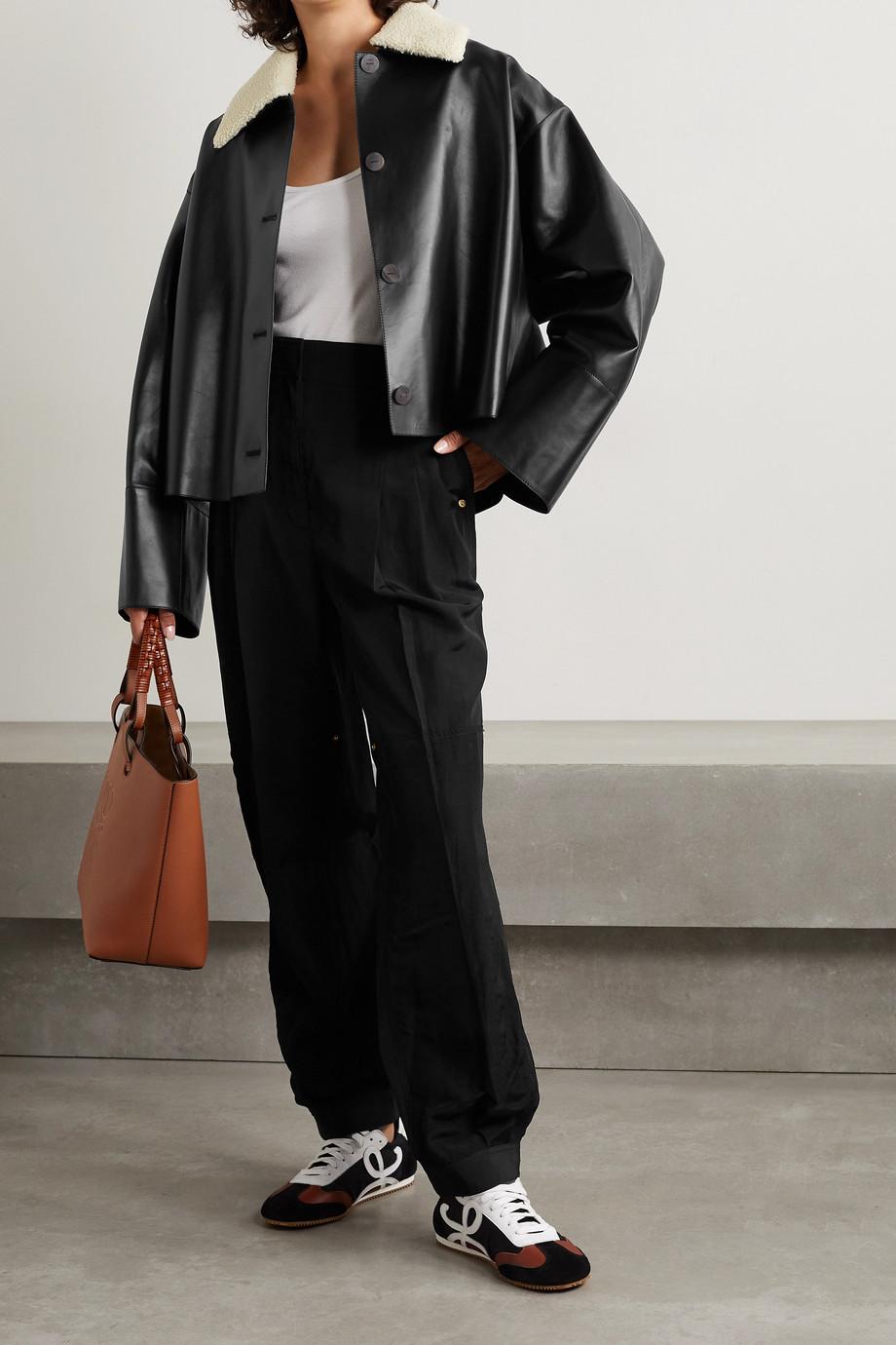 Loewe Veste oversize en cuir à finitions en peau lainée