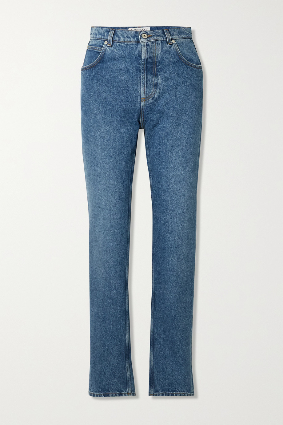 Loewe Leather-trimmed high-rise straight-leg jeans