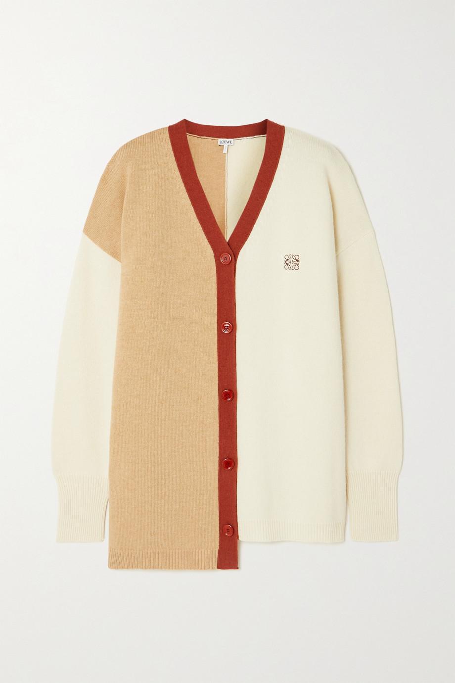 Loewe Asymmetric embroidered color-block wool cardigan