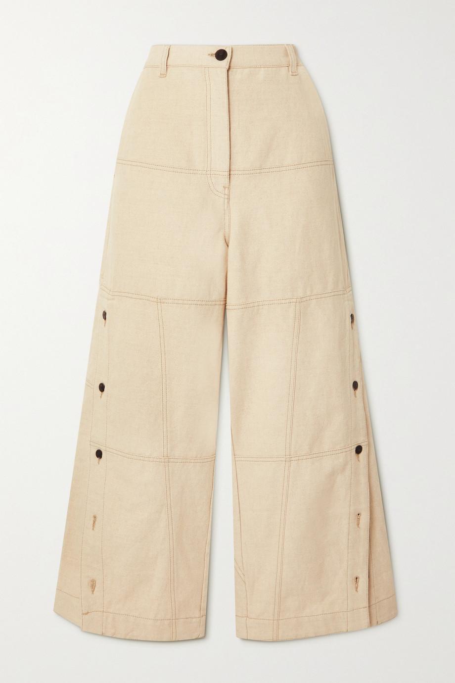 Loewe Pantalon large en coton et lin mélangés à boutons