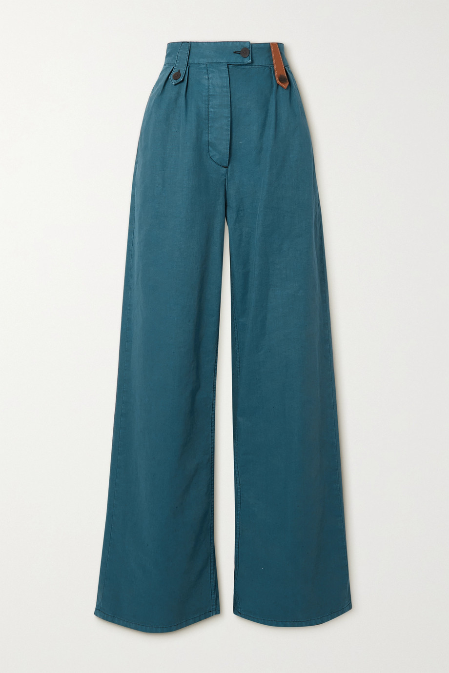 Loewe Pantalon large en coton et lin mélangés à finitions en cuir