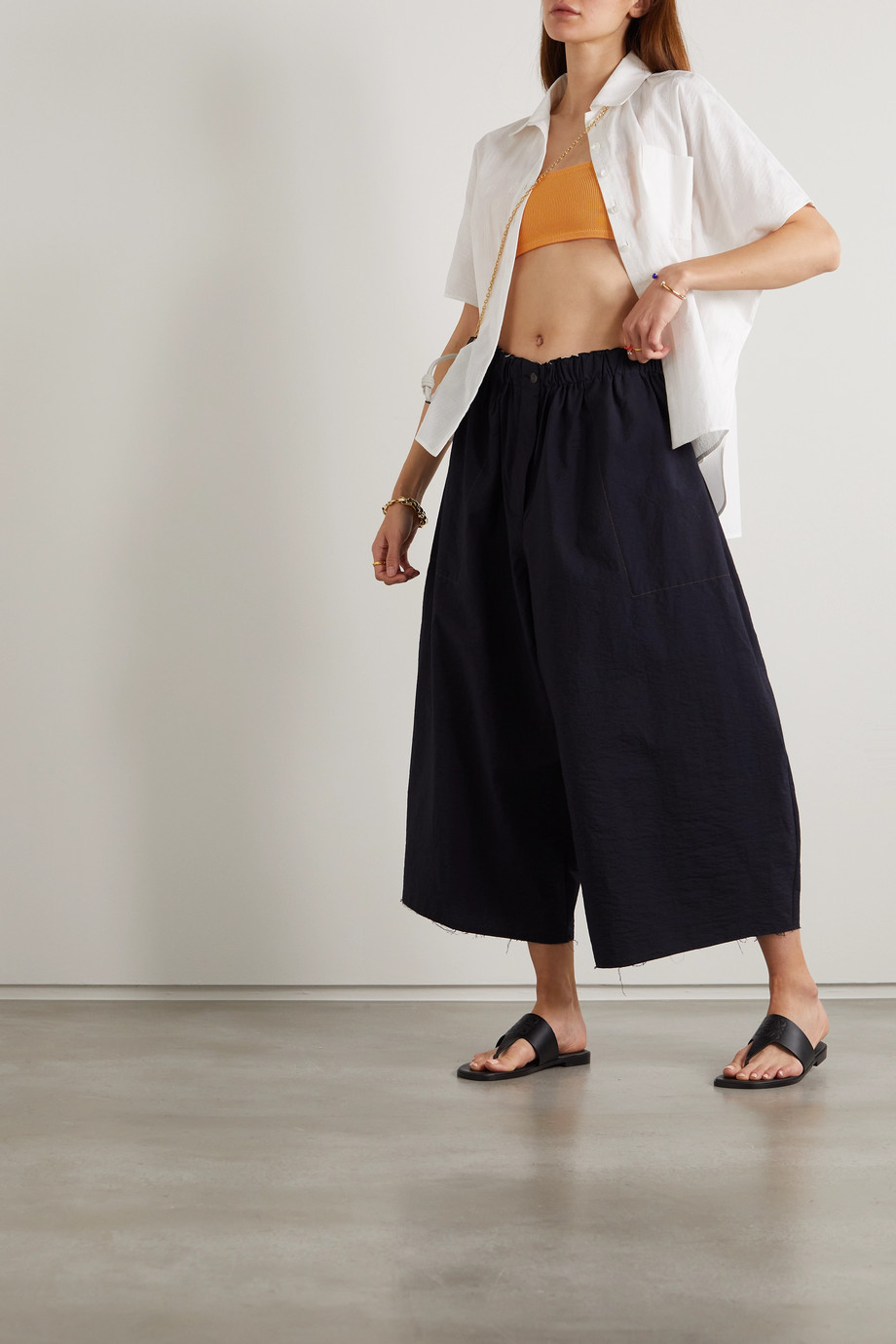 Loewe Pantalon large en coton mélangé effilé