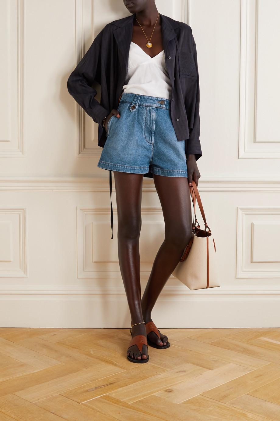 Loewe Leather-trimmed denim shorts