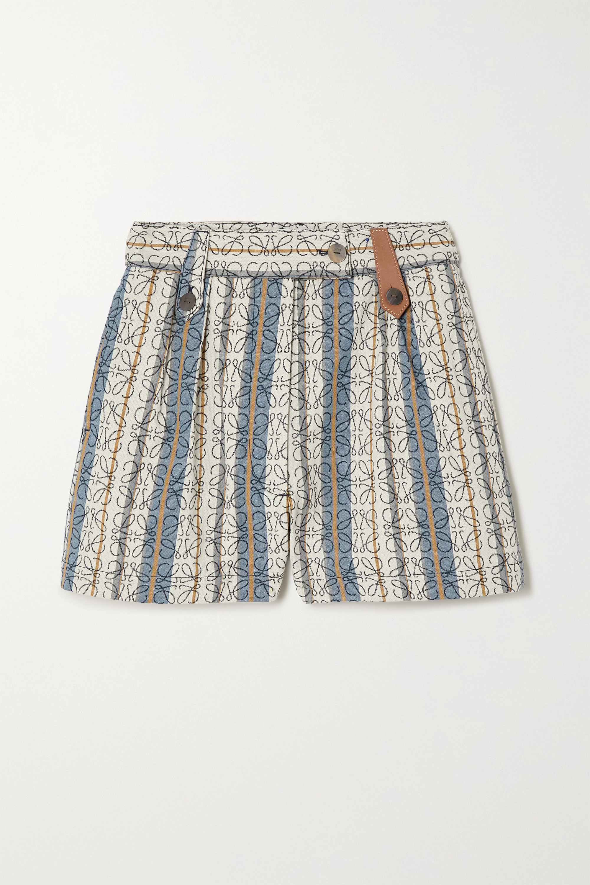 Loewe Leather-trimmed striped cotton-jacquard shorts