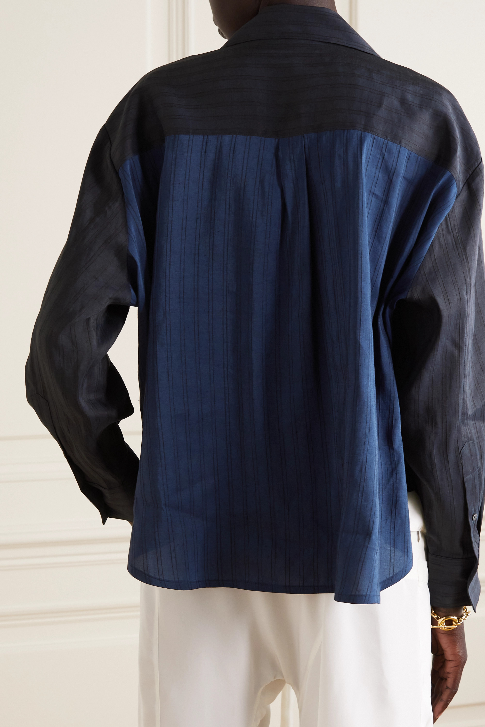 Loewe Embroidered striped linen and silk-blend voile blouse