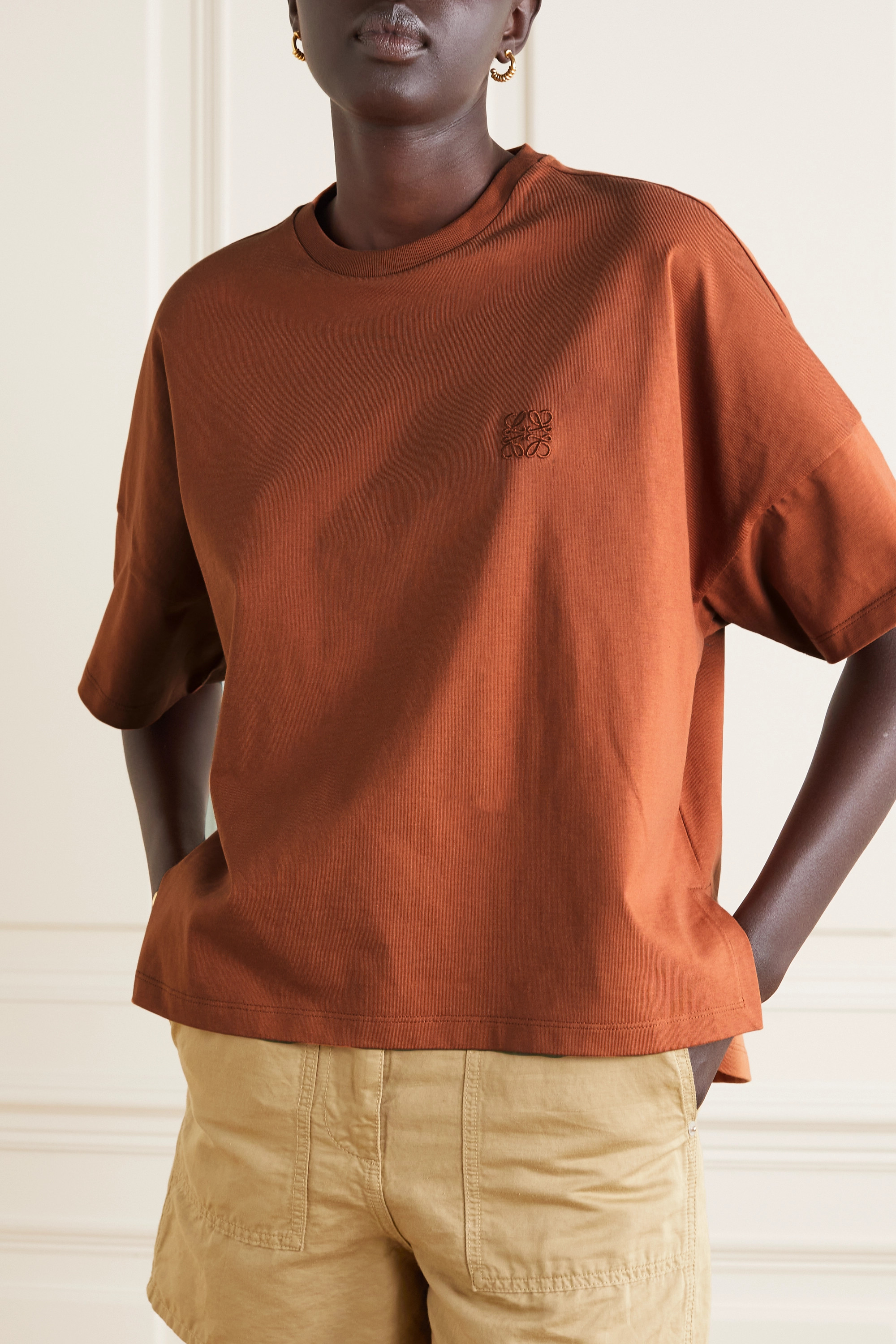 Loewe Embroidered cotton-jersey T-shirt