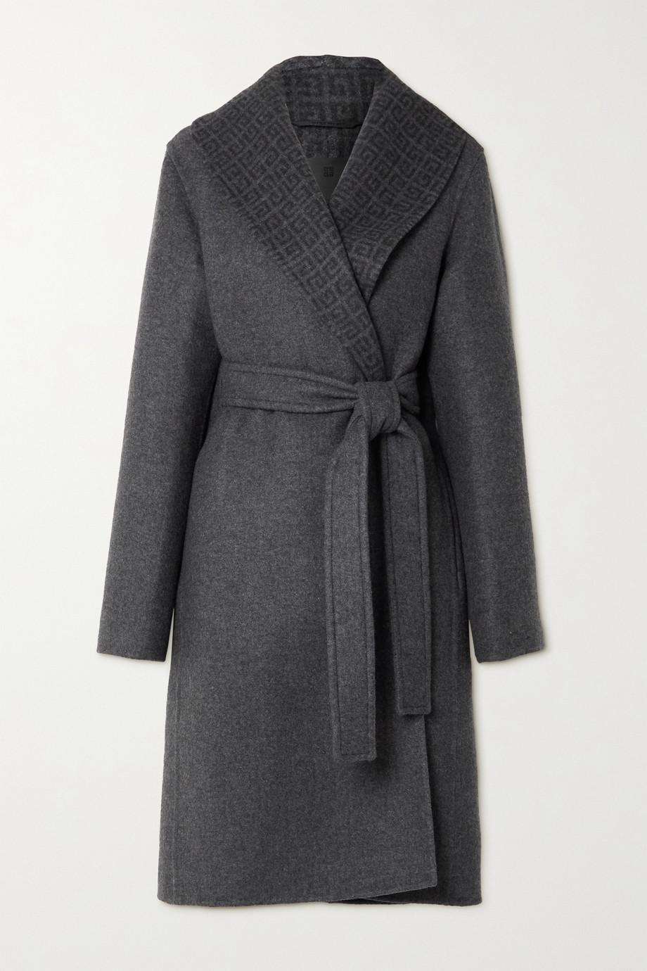 Givenchy Manteau en laine, cachemire et soie mélangés intarsia à ceinture