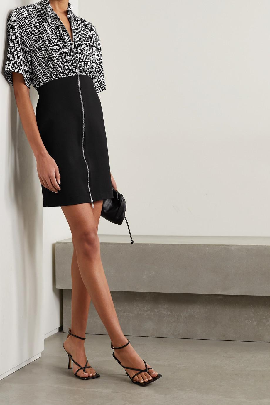 Givenchy Mini-robe en crêpe de Chine de soie imprimé et en mailles stretch