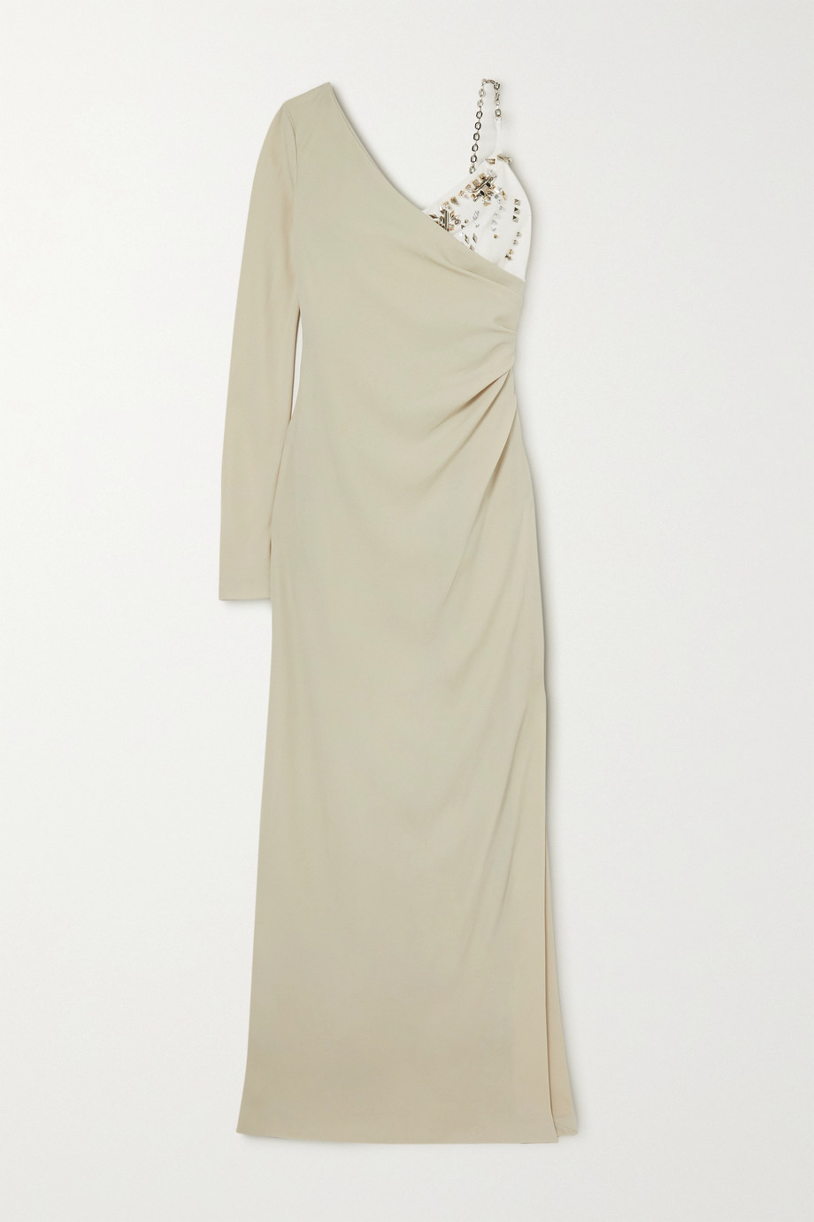 Givenchy Draped embellished two-tone crepe gown
