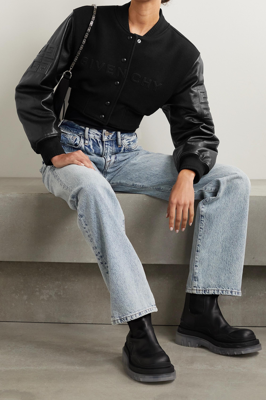 Givenchy Blouson raccourci en molleton de laine mélangée et en cuir à broderies