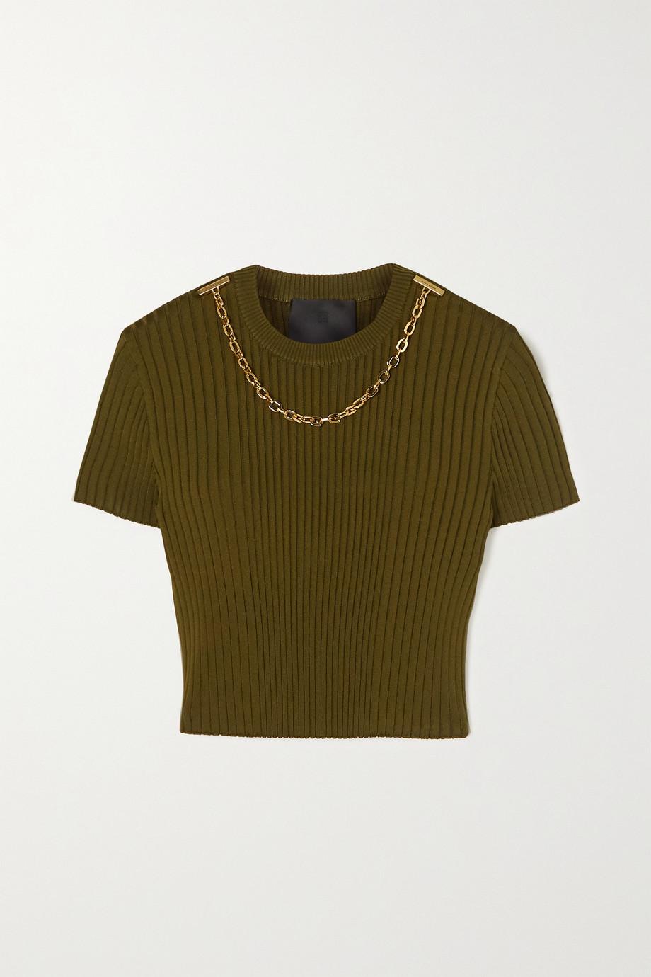 Givenchy T-shirt raccourci en jersey côtelé à chaîne