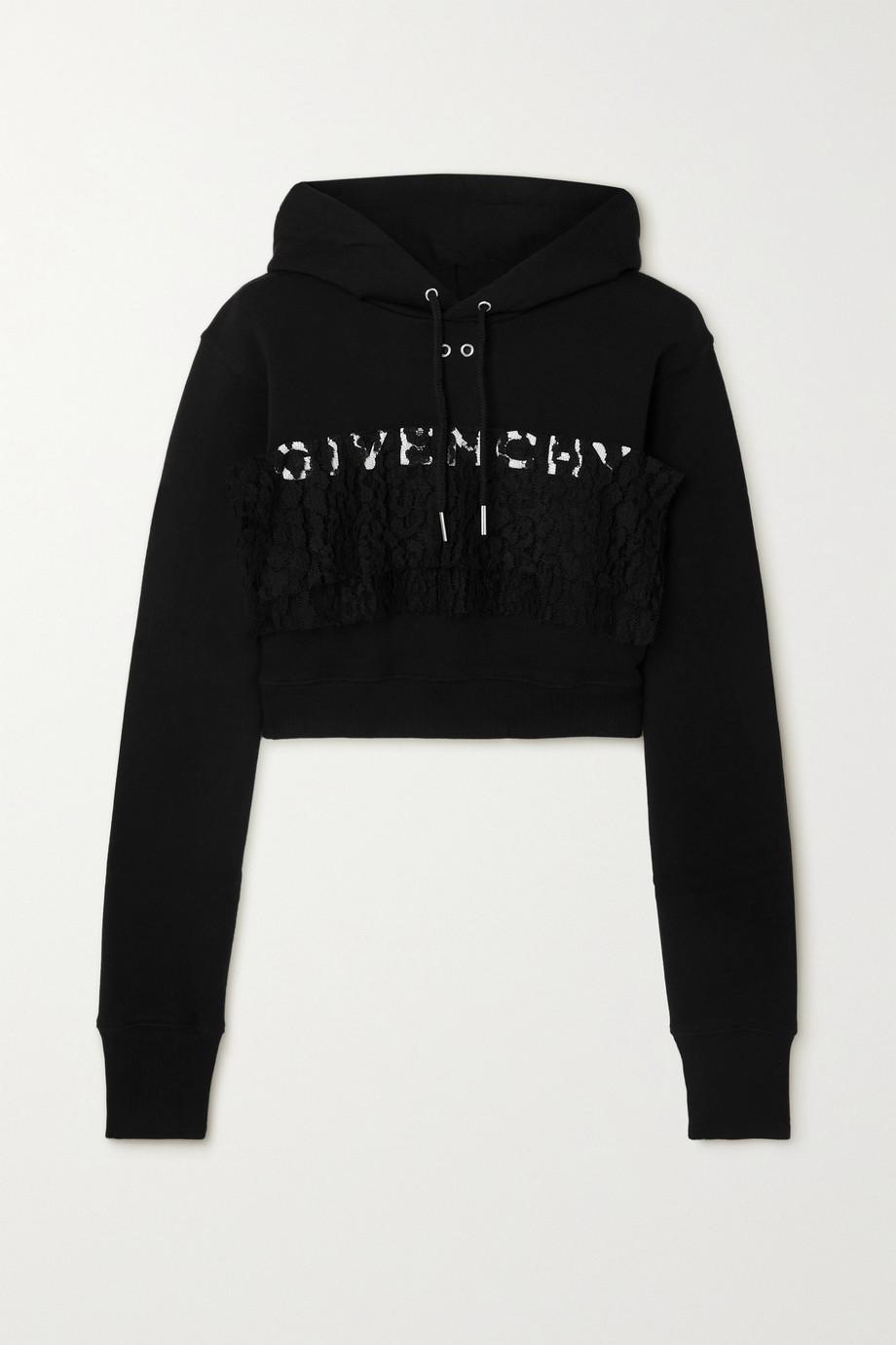 Givenchy Sweat à capuche raccourci en jersey de coton à broderies et à finitions en dentelle