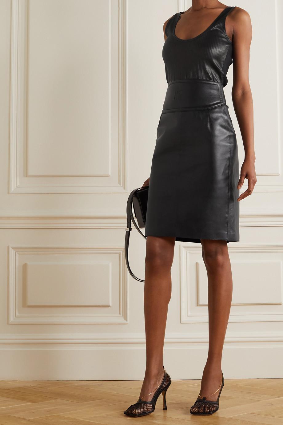 Givenchy Débardeur en cuir et en jersey de coton mélangé côtelés