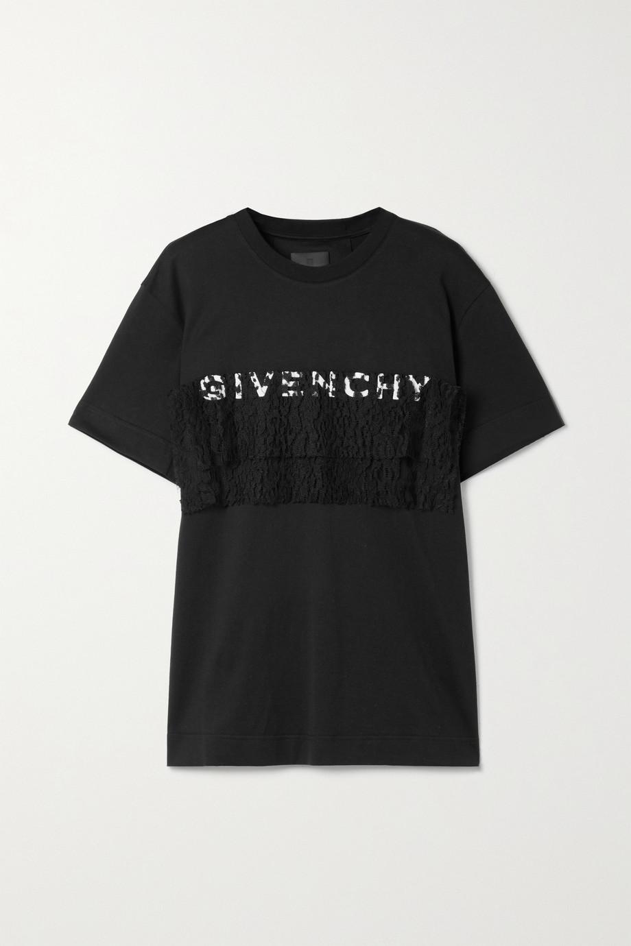 Givenchy T-shirt en jersey de coton à finitions en dentelle et à broderies