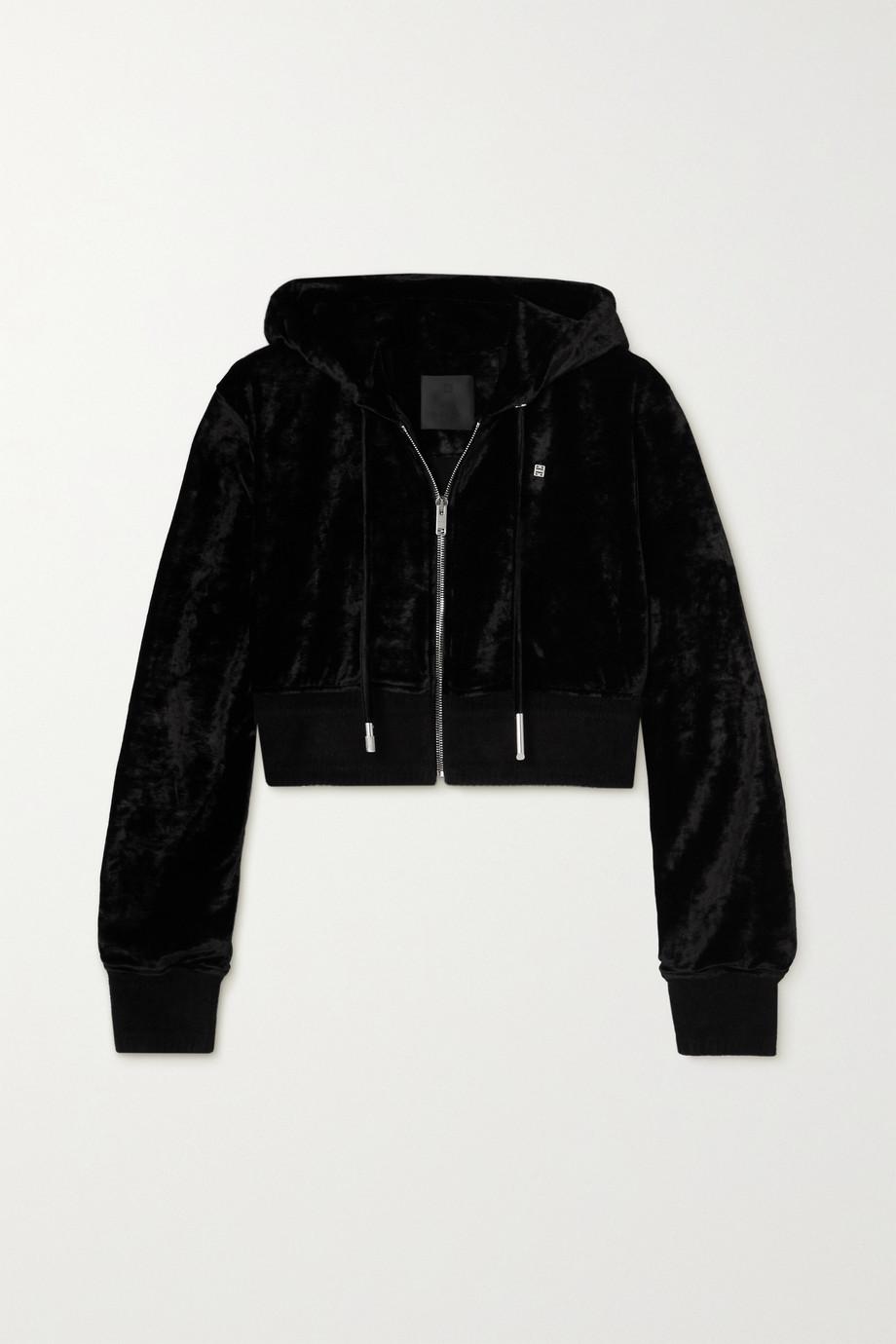 Givenchy Sweat à capuche raccourci en velours frappé à ornement