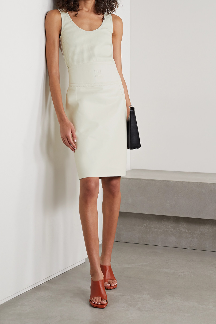 Givenchy Débardeur en jersey de coton stretch et en cuir côtelés