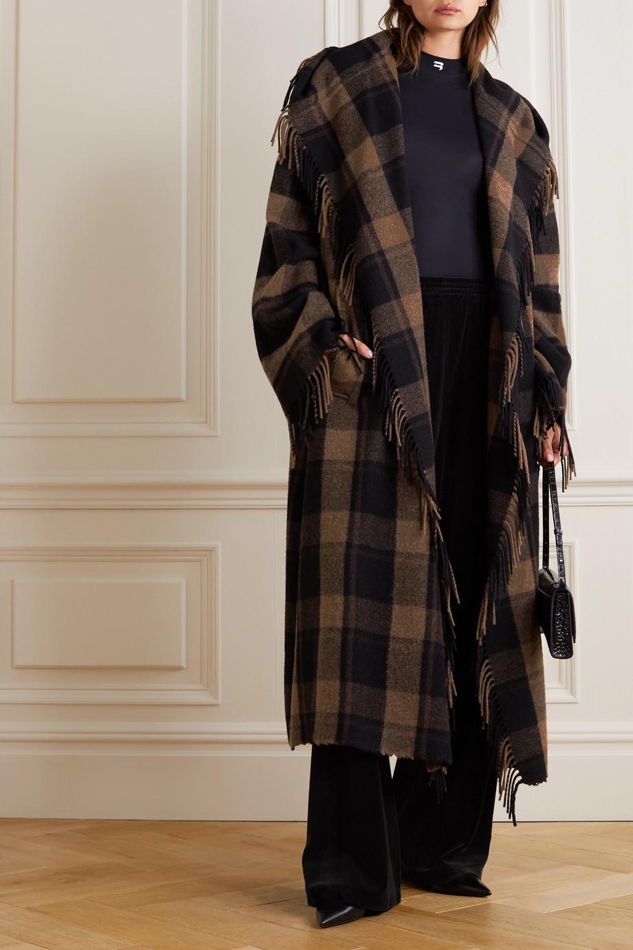Balenciaga Manteau en laine mélangée à carreaux et à franges