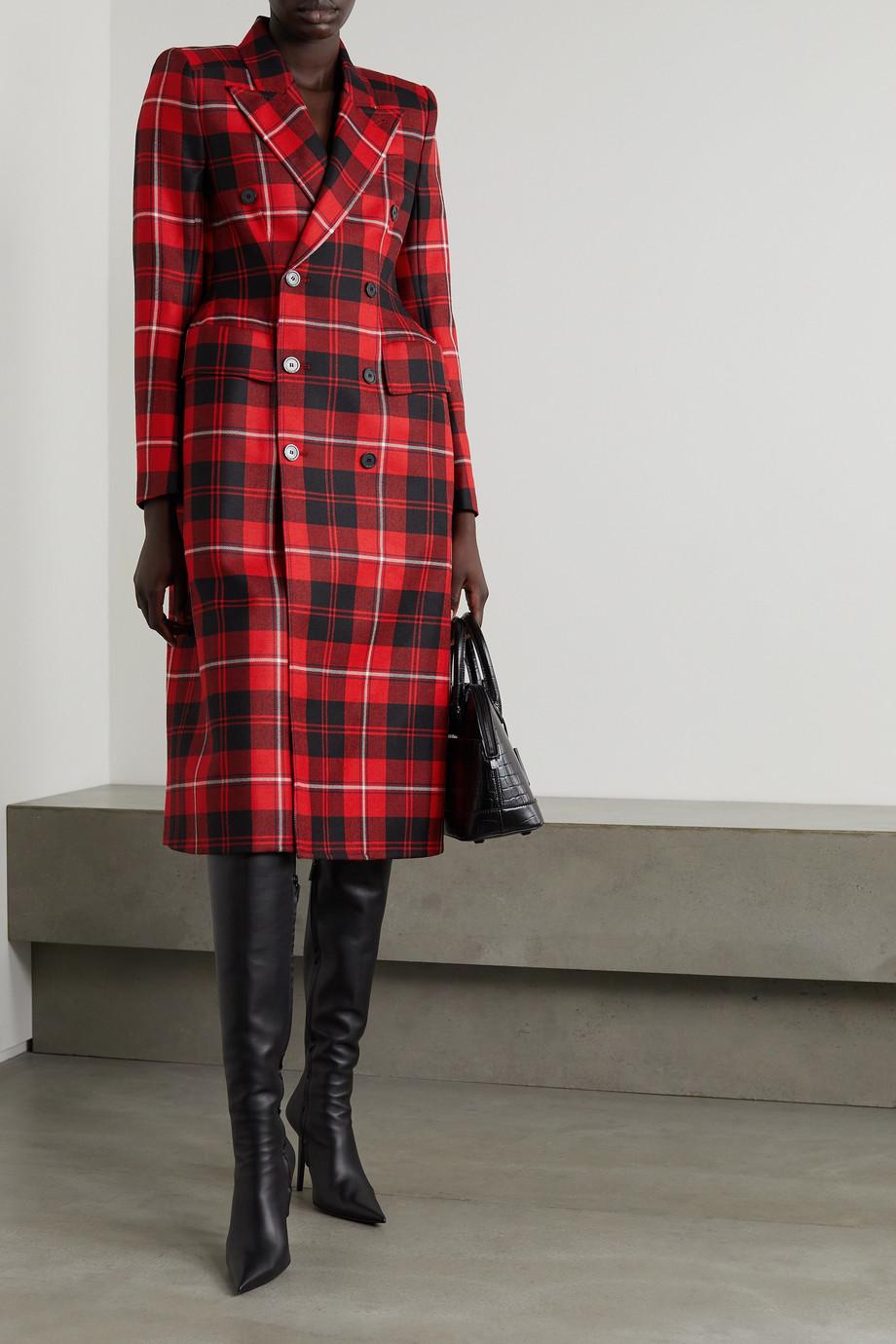 Balenciaga Hourglass doppelreihiger Mantel aus kariertem Woll-Twill