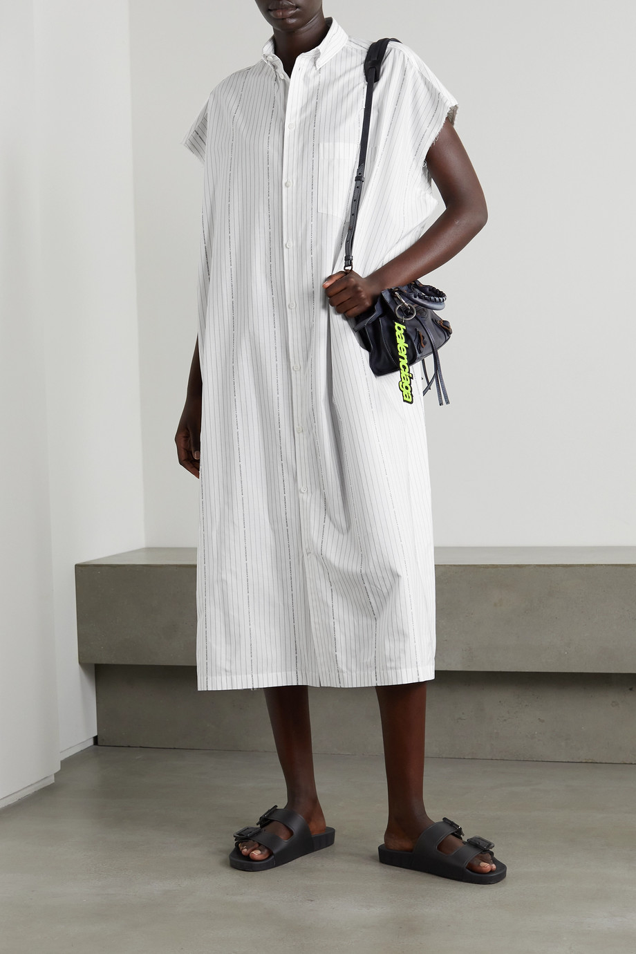 Balenciaga Frayed printed striped cotton-poplin shirt dress
