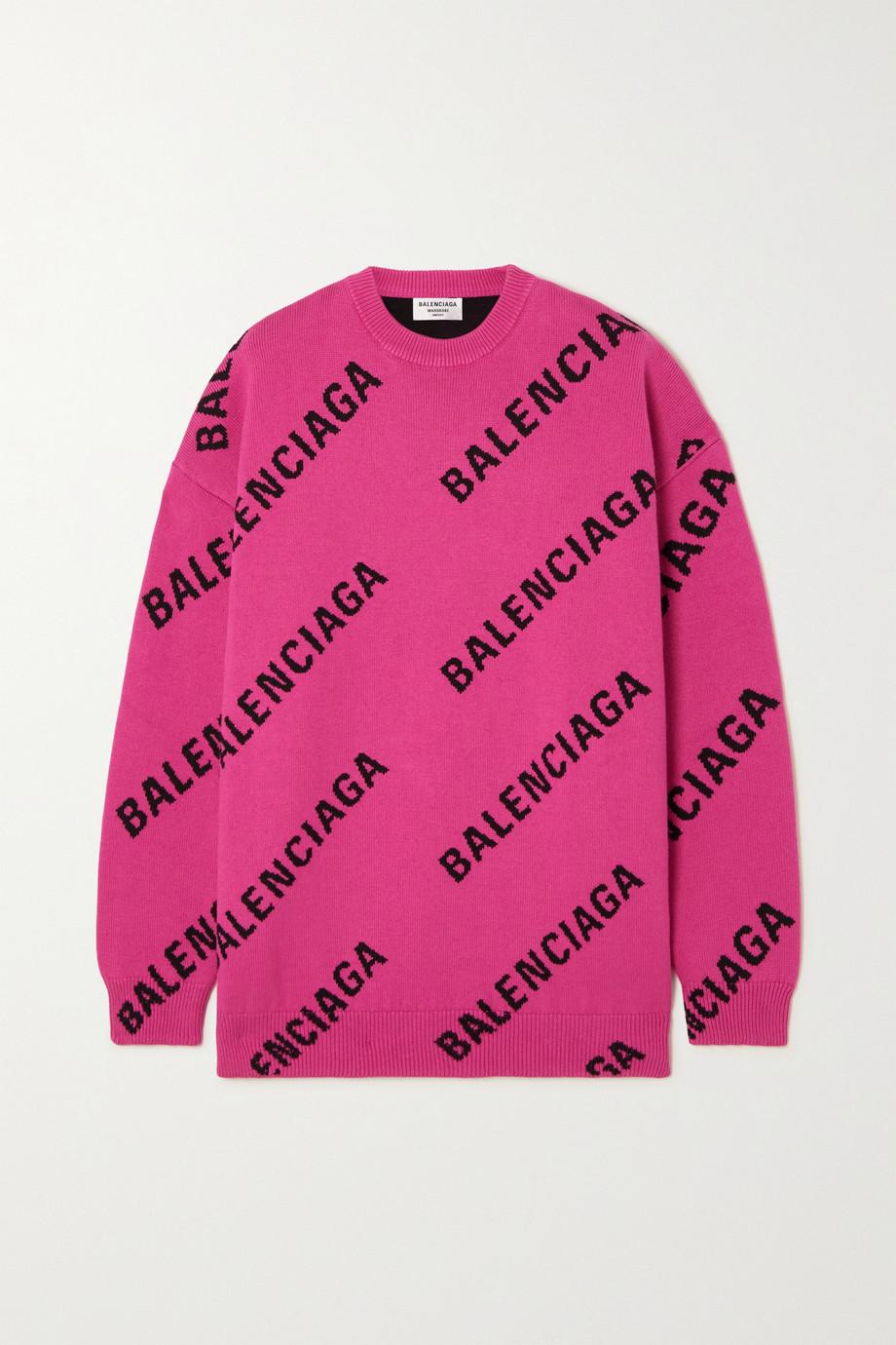 Balenciaga Pullover aus einer Baumwollmischung mit Intarsienmuster