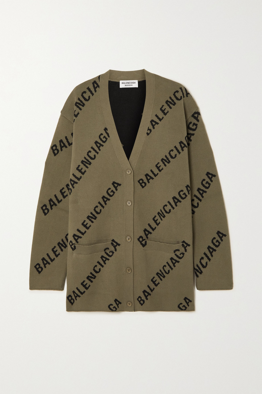 Balenciaga Cardigan aus einer Baumwollmischung mit Intarsienmuster