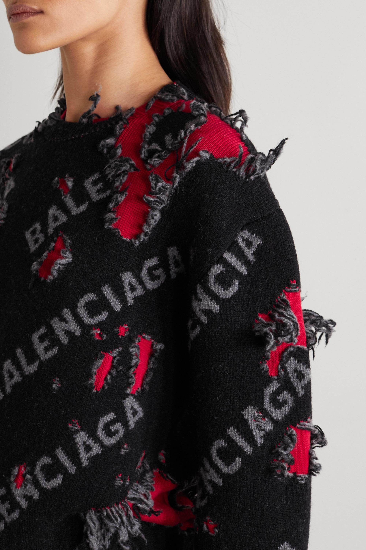 Balenciaga Pull raccourci en laine mélangée intarsia effet vieilli