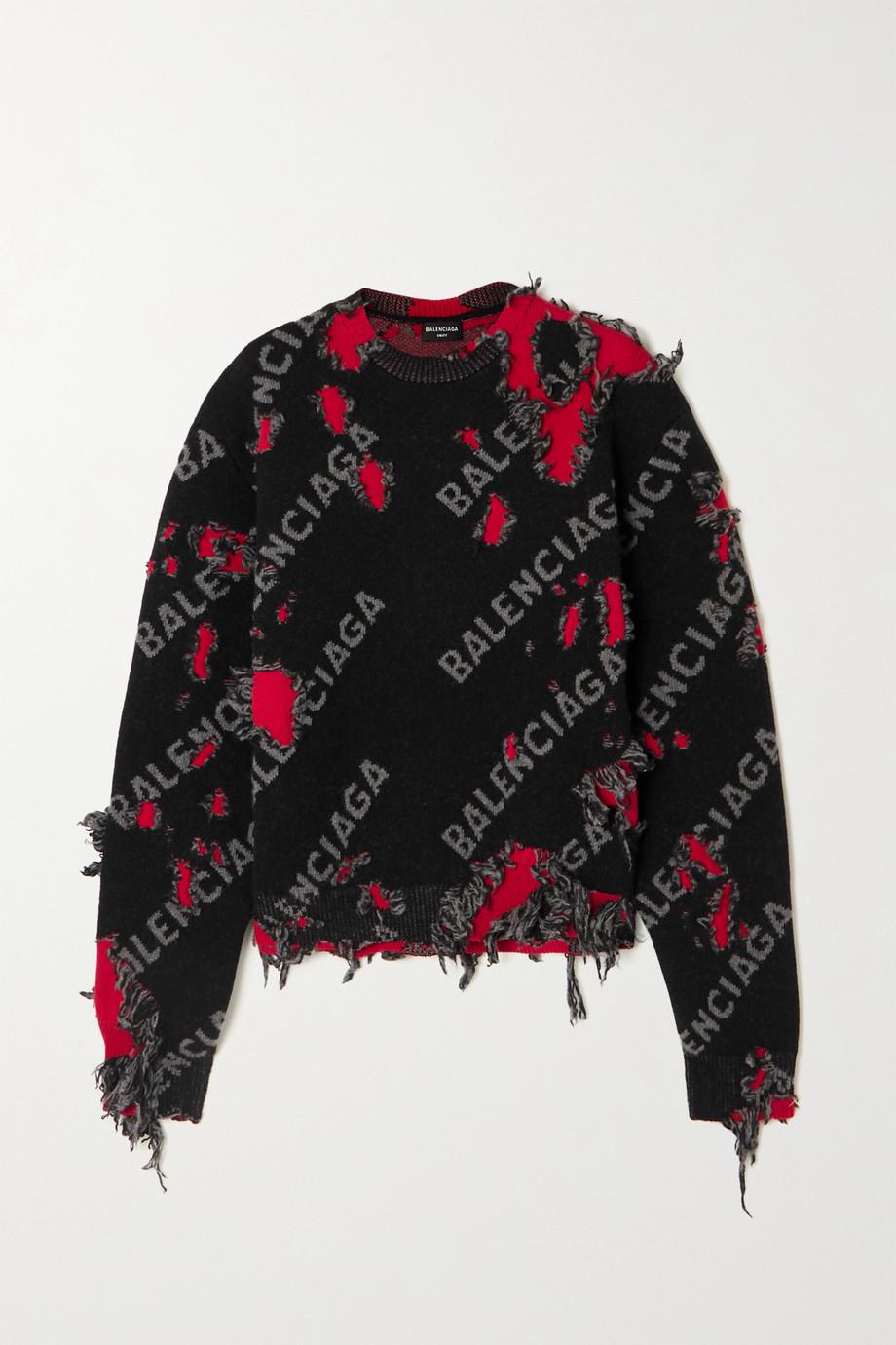 Balenciaga Verkürzter Pullover aus einer Wollmischung mit Intarsienmuster in Distressed-Optik