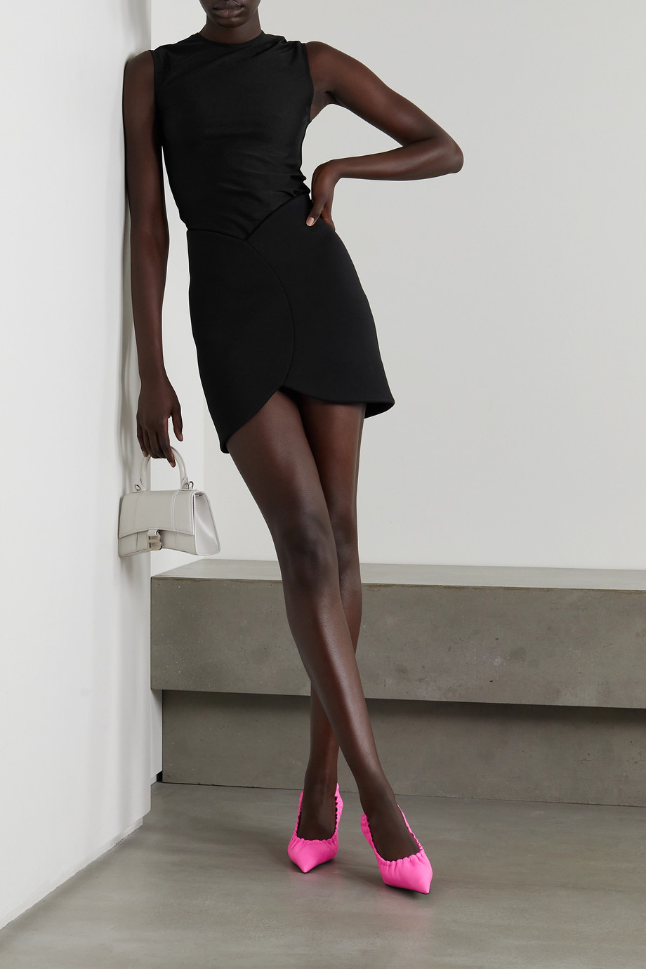 Balenciaga Mini-jupe en mailles point de Rome stretch