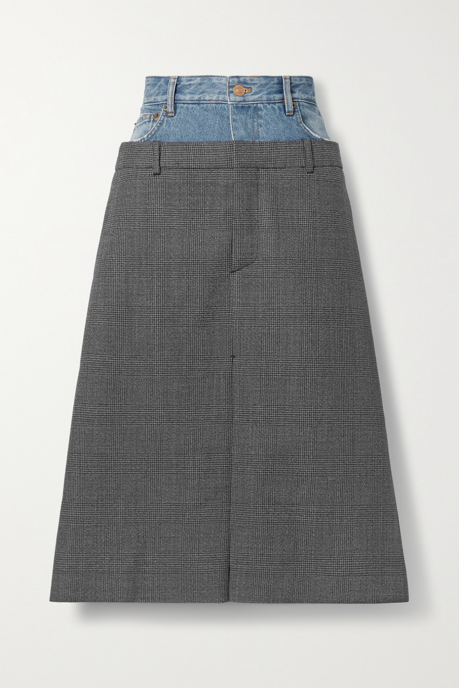 Balenciaga Jupe midi en laine à carreaux prince-de-galles et en jean