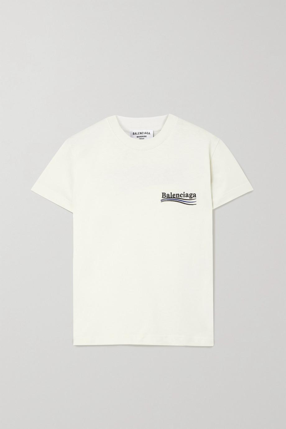 Balenciaga Embroidered cotton-jersey T-shirt