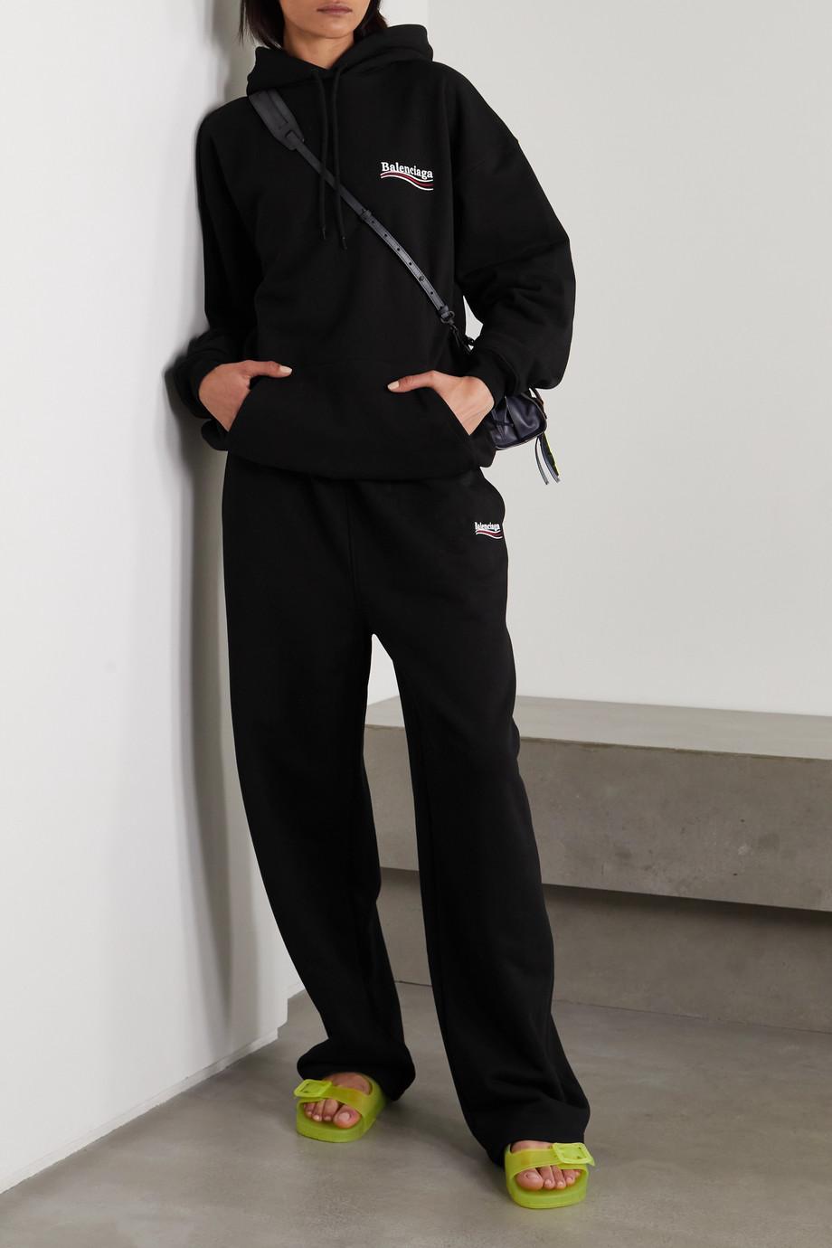Balenciaga Sweat à capuche en jersey de coton imprimé à broderies