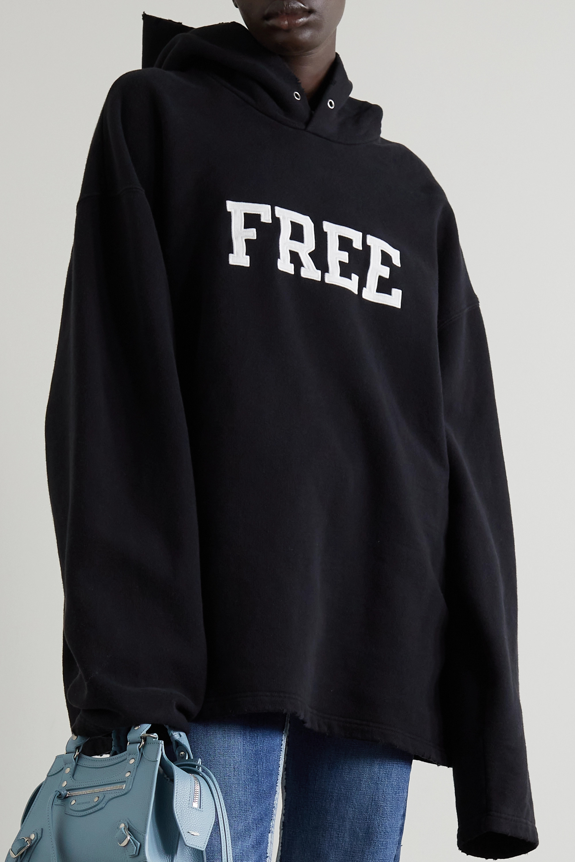 Balenciaga Sweat à capuche oversize en jersey de coton mélangé effet vieilli à appliqués