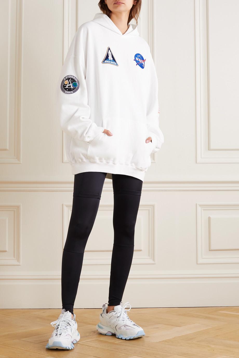 Balenciaga Sweat à capuche oversize en jersey de coton à appliqués Space