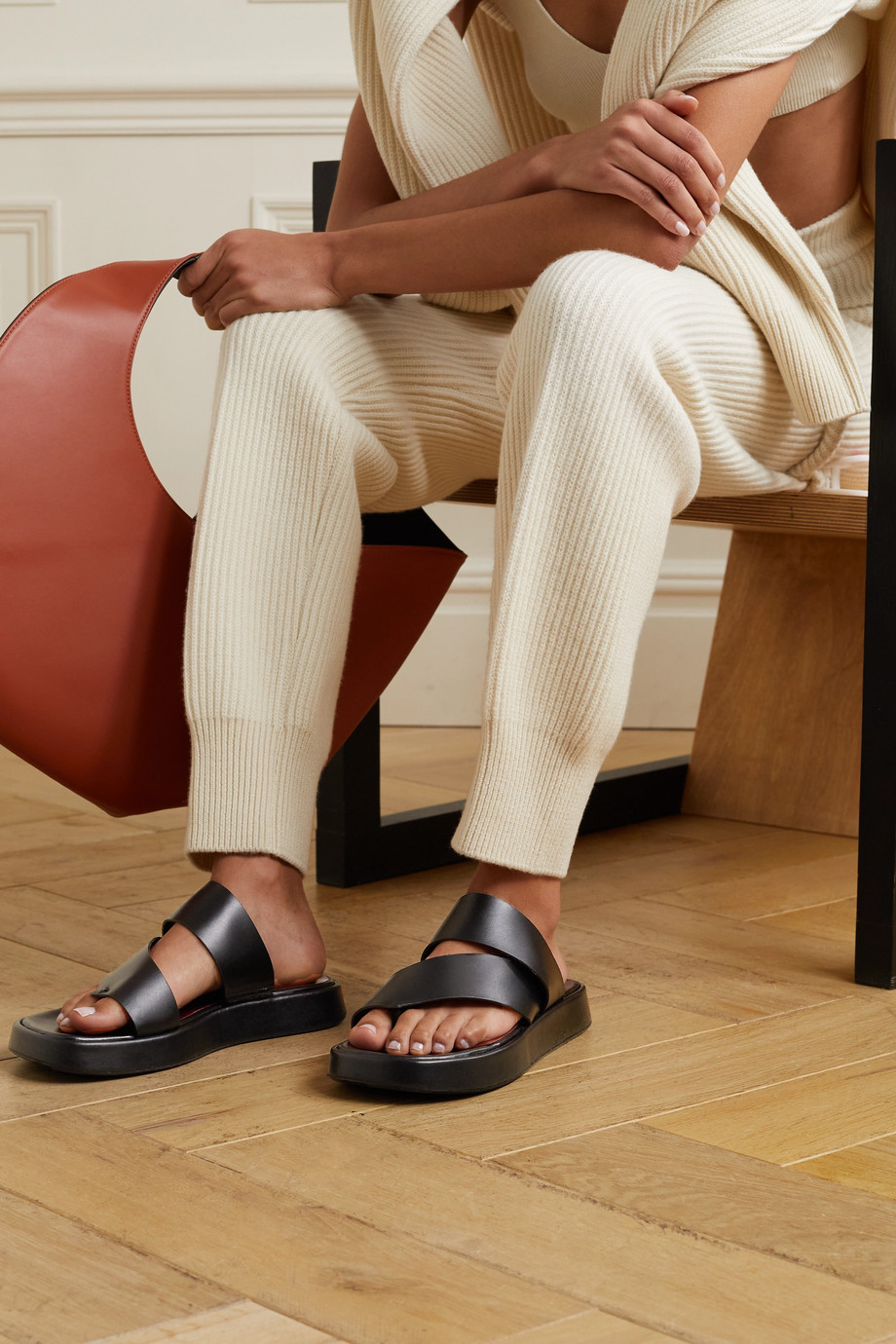 STAUD Fly leather platform sandals
