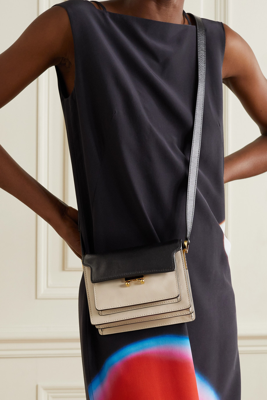 Marni Trunk mini two-tone leather shoulder bag