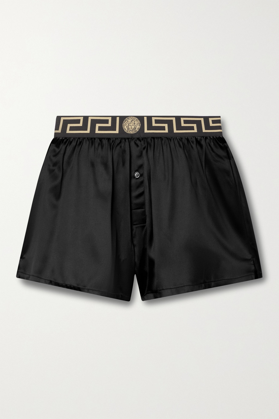 Versace Shorts aus Stretch-Seidensatin mit Jacquard-Besatz