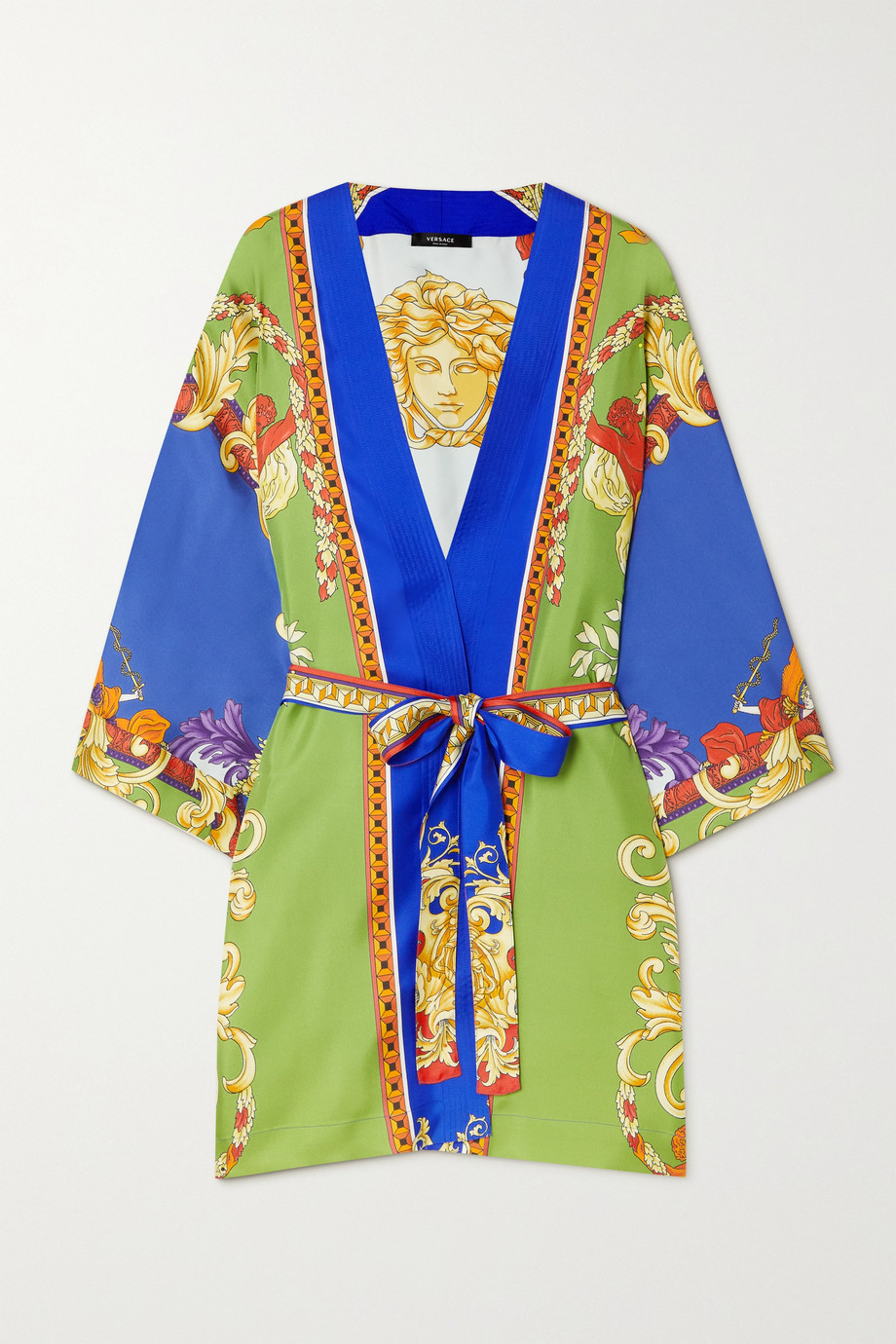 Versace Belted printed silk-twill robe