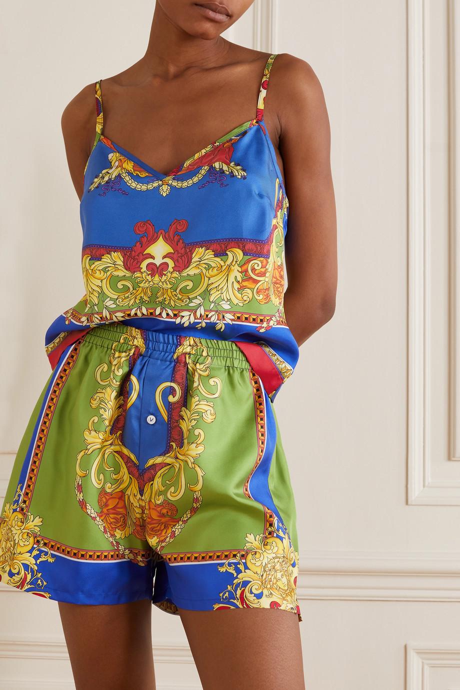 Versace Printed silk-twill pajama top