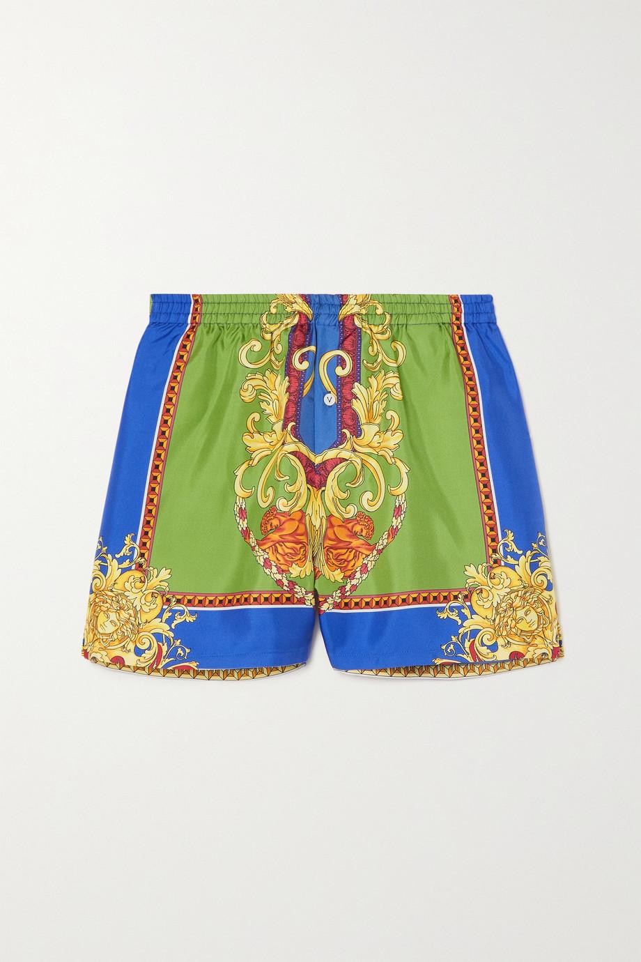 Versace Printed silk-twill pajama shorts