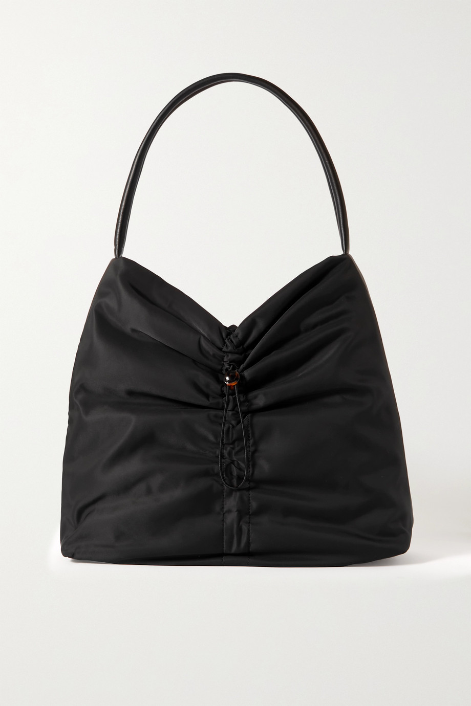 STAUD Felix leather-trimmed ruched shell tote