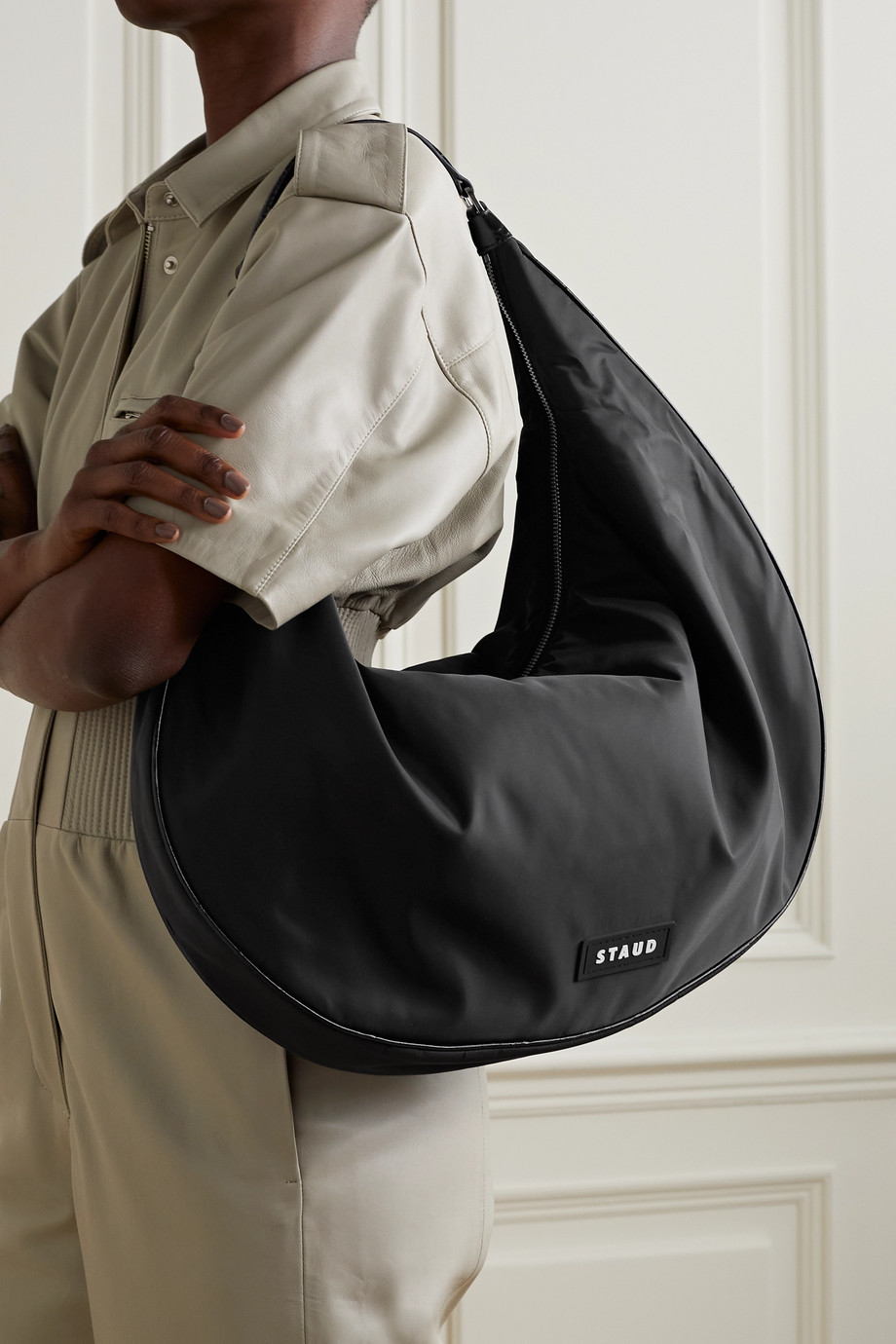 STAUD Sasha large leather-trimmed nylon shoulder bag